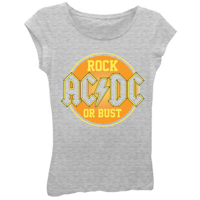 "AC/DC Girls' ""Rock or Bust"" Short Sleeve Graphic T-Shirt with Crystalline"