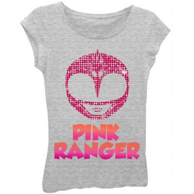 "Power Rangers Girls' ""Pink Ranger"" Mask Short Sleeve Graphic T-Shirt"