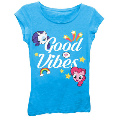 """My Little Pony Girls' """"Good Vibes"""" Short Sleeve Graphic T-Shirt with Gold Glitter"""