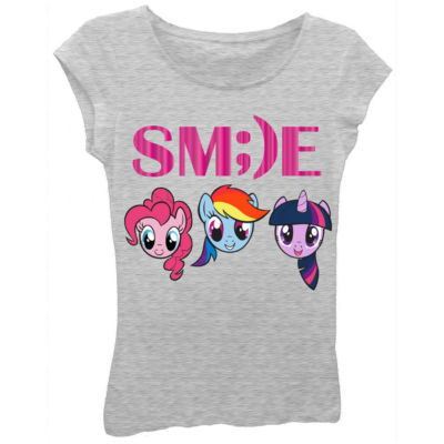 """My Little Pony Girls' """"SM;)E"""" Faces Short Sleeve Graphic T-Shirt with Pink Foil"""