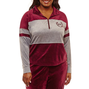 Flirtitude Velour Half Zip Sweatshirt-Juniors Plus