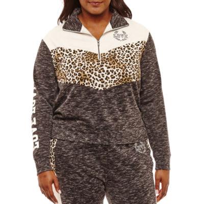 Flirtitude Fleece Half Zip Sweatshirt-Juniors Plus