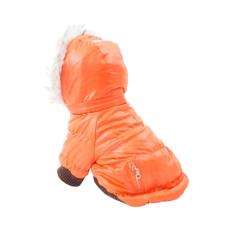 The Pet Life Metallic Fashion Pet Parka Coat, Orange