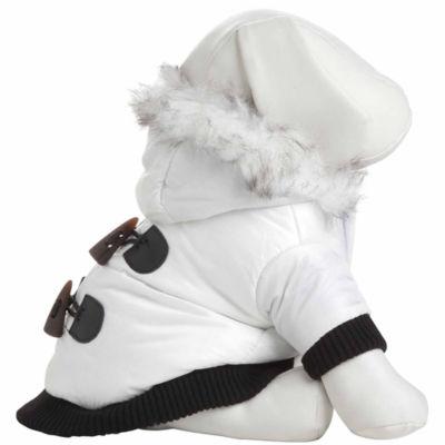 The Pet Life Aspen Winter-White Fashion Pet Parka Coat