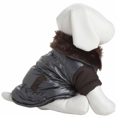 The Pet Life Ultra Fur 'Track-Collared' Metallic Pet Jacket