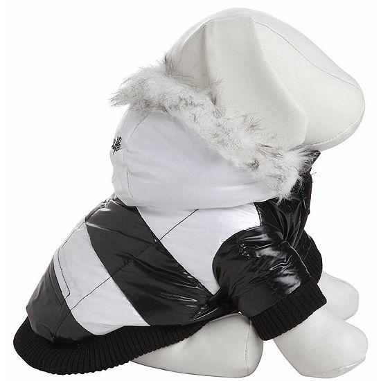 The Pet Life Fashion Striped Ultra-Plush Pet Parka Coat