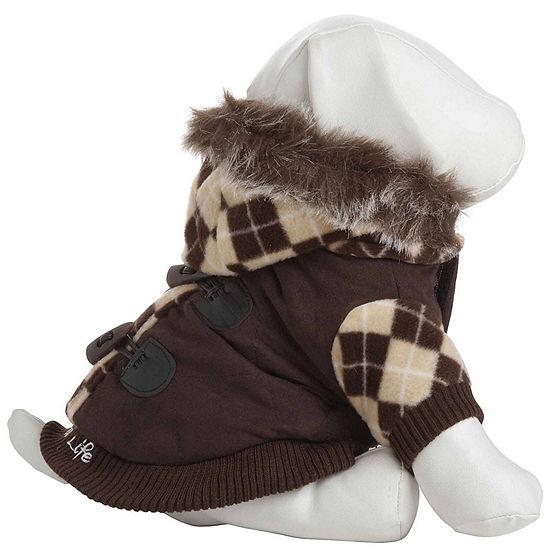 The Pet Life Designer Patterned Suede Argyle Sweater Pet Jacket