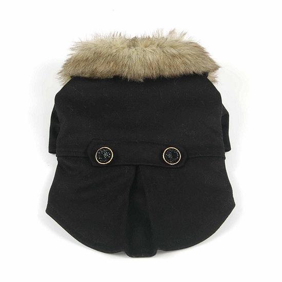 The Pet Life Buttoned 'Coast-Guard' Fashion Faux-Fur Collared Wool Pet Coat