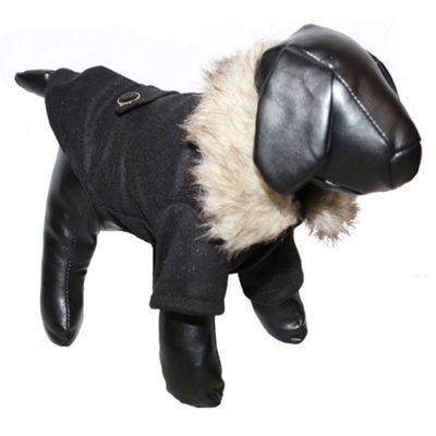 The Pet Life Buttoned 'Coast-Guard' Fashion Faux-Fur Collared Wool Pet Coat