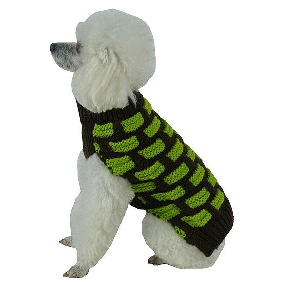 The Pet Life Fashion Weaved Heavy Knit Designer Ribbed Turtle Neck Dog Sweater