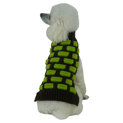 The Pet Life Fashion Weaved Heavy Knit Designer Ribbed Turtle Neck Dog Sweater