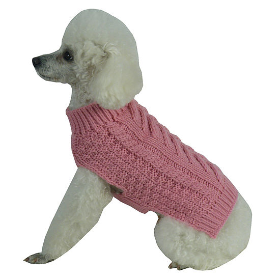 The Pet Life Swivel-Swirl Heavy Cable Knitted Fashion Designer Dog Sweater