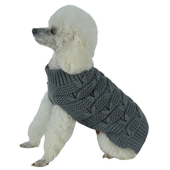 The Pet Life Butterfly Stitched Heavy Cable Knitted Fashion Turtle Neck Dog Sweater