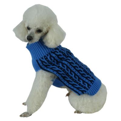 The Pet Life Harmonious Dual Color Weaved Heavy Cable Knitted Fashion Designer Dog Sweater