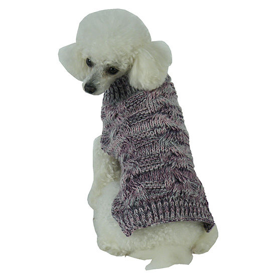 The Pet Life Royal Bark Heavy Cable Knitted Designer Fashion Dog Sweater