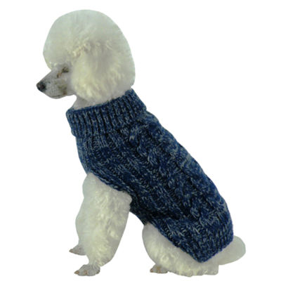 The Pet Life Classic True Blue Heavy Cable KnittedRibbed Fashion Dog Sweater