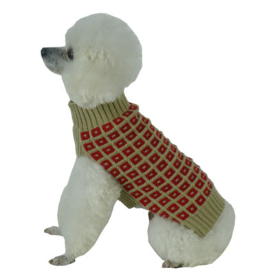 The Pet Life Butterscotch Box Weaved Heavy Cable Knitted Designer Turtle Neck Dog Sweater
