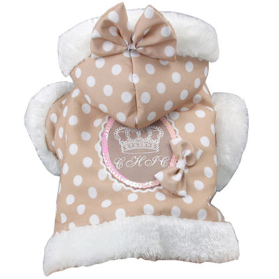 The Pet Life Polka-Dot Couture-Bow Pet Hoodie Sweater