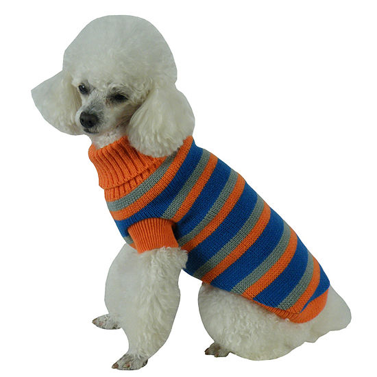 The Pet Life Heavy Cable Knit Striped Fashion Polo Dog Sweater