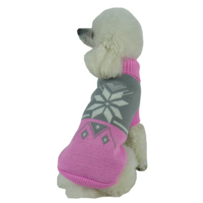 The Pet Life Snow Flake Cable-Knit Ribbed FashionTurtle Neck Dog Sweater