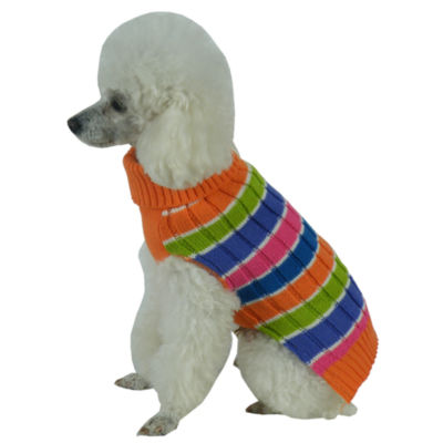 The Pet Life Tutti-Beauty Rainbow Heavy Cable Knitted Ribbed Designer Turtle Neck Dog Sweater
