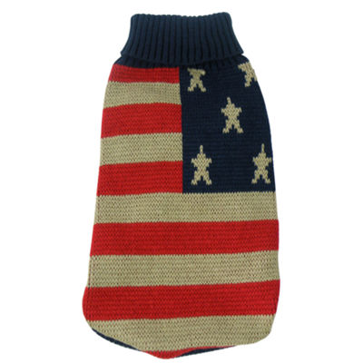 The Pet Life Patriot Independence Star Heavy Knitted Fashion Ribbed Turtle Neck Dog Sweater