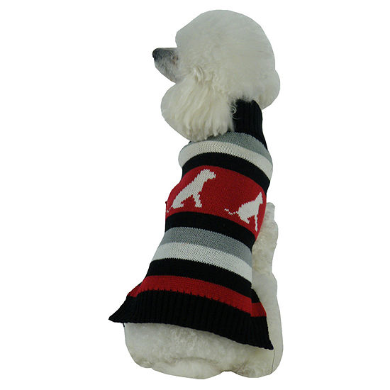 The Pet Life Dog Patterned Stripe Fashion Ribbed Turtle Neck Pet Sweater