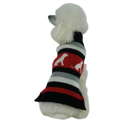 The Pet Life Dog Patterned Stripe Fashion Ribbed Turtle Neck Pet Sweater