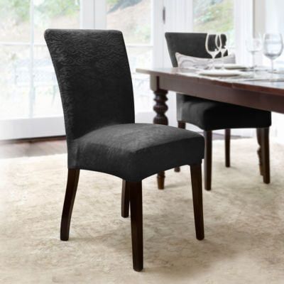 Dahlia Stretch Dining Chair Slipcover in Ebony 4 Pack
