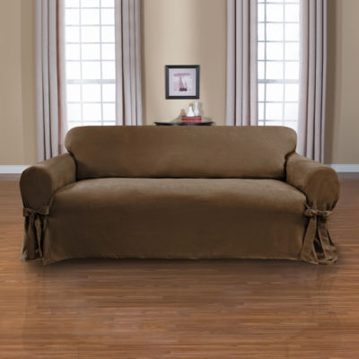 Sienna Suede 1-Piece Relaxed Fit Sofa Slipcover