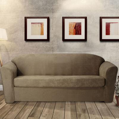Stretch Leather 2 Piece Sofa Slipcover
