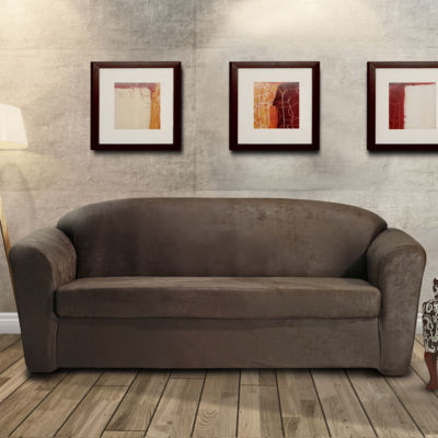 Stretch Leather 2 Piece Sofa Slipcover