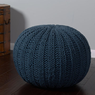 Cable-Knit Pouf Ottoman