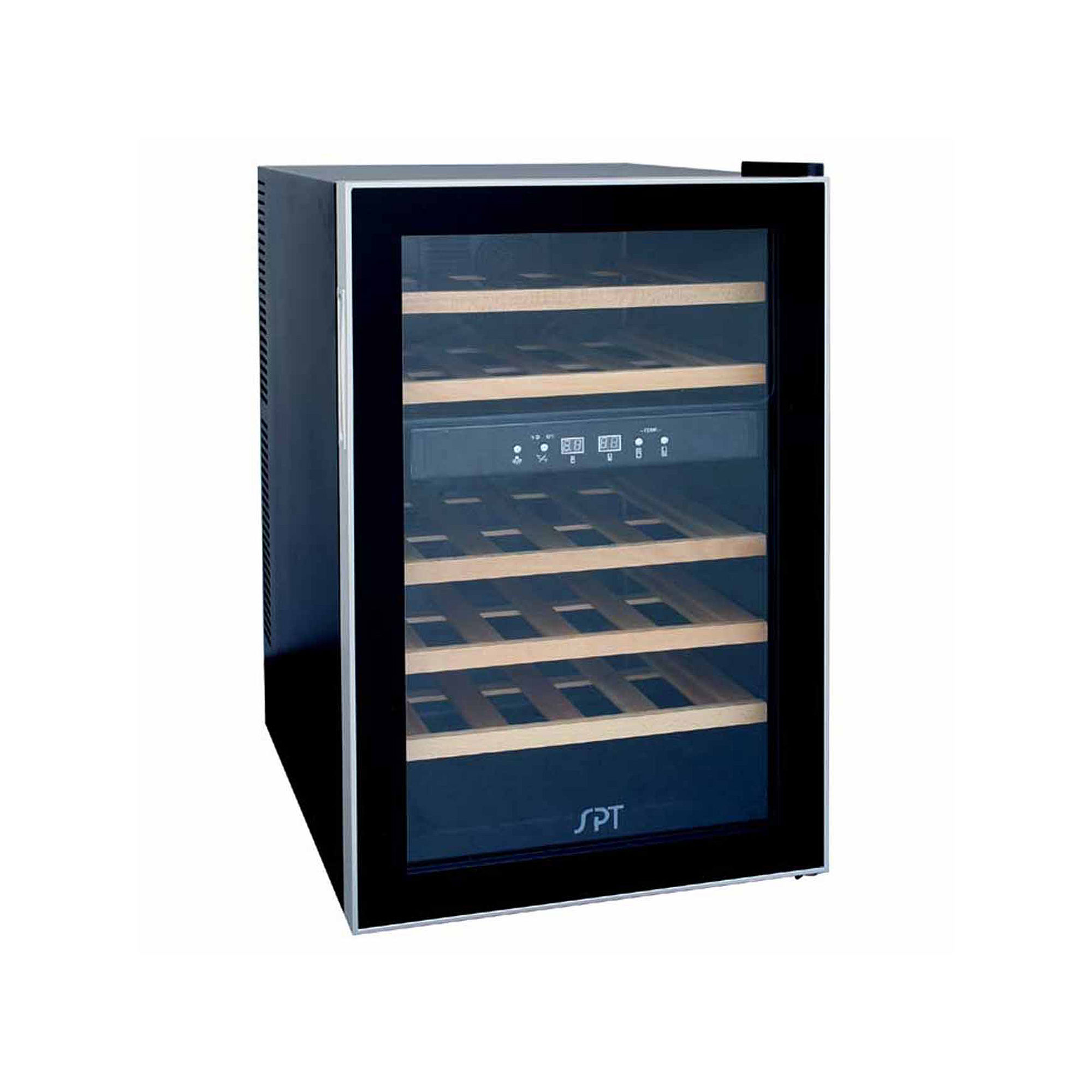 SPT WC-2463W: Dual-Zone Thermo-Electric Wine Cooler with Wooden Shelves 24-bottles