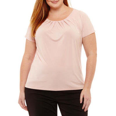 Liz Claiborne Short Sleeve Pleat Neck Top- Plus