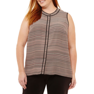 Liz Claiborne Sleeveless Piped Button-Front Shirt- Plus