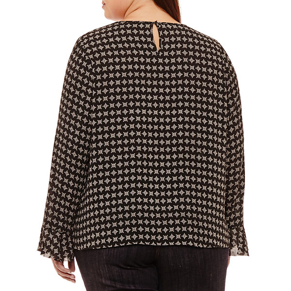 Liz Claiborne Long Sleeve Front Pleat Blouse- Plus