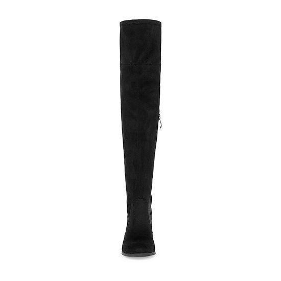 Liz Claiborne Womens Anabella Over the Knee Block Heel Zip Boots