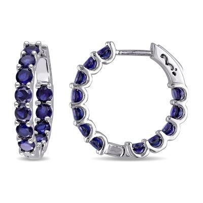 Lab Created Blue Sapphire Sterling Silver 21.8mm Hoop Earrings