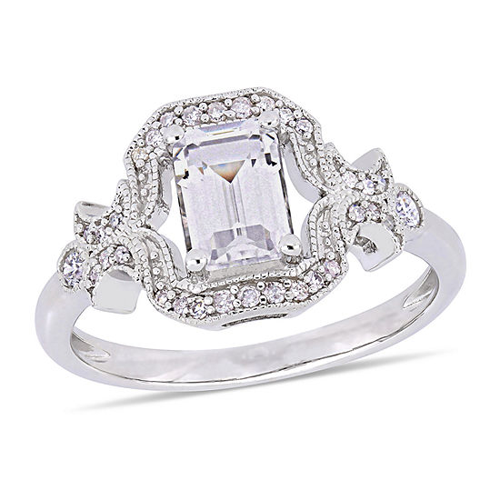 Womens 1/6 CT. T.W. Lab Created White Sapphire Sterling Silver Cocktail Ring