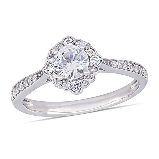 Womens 1/10 CT. T.W. Lab Created White Sapphire 10K White Gold Cocktail Ring