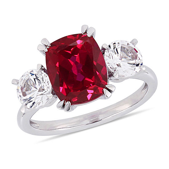 Womens Lab Created Red Ruby 10K White Gold Cocktail Ring