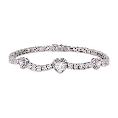 Lab Created White Sapphire Sterling Silver Heart 7 Inch Tennis Bracelet