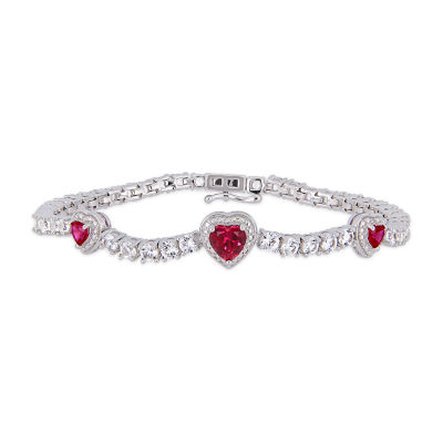 Lab Created Red Ruby Heart 7 Inch Tennis Bracelet