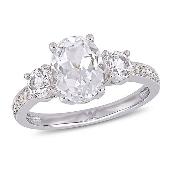 Womens Diamond Accent Lab Created White Sapphire 10K White Gold Cocktail Ring