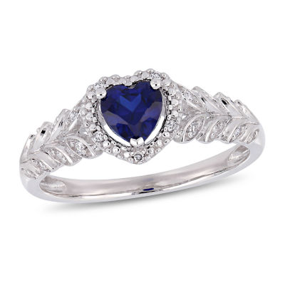 Womens Diamond Accent Lab Created Blue Sapphire 10K White Gold Heart Cocktail Ring