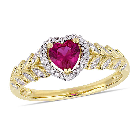 Womens Diamond Accent Lab Created Red Ruby 10K Gold Heart Cocktail Ring