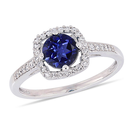 Womens 1/7 CT. T.W. Lab Created Blue Sapphire 10K White Gold Cocktail Ring
