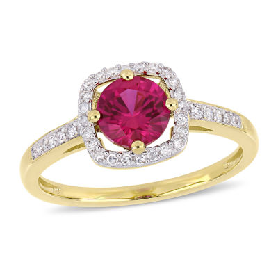 Womens 1/7 CT. T.W. Lab Created Red Ruby 10K Gold Cocktail Ring