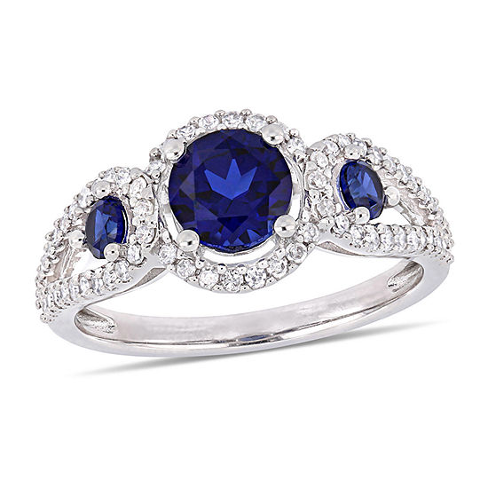 Womens 1/3 CT. T.W. Lab Created Blue Sapphire 10K White Gold Cocktail Ring